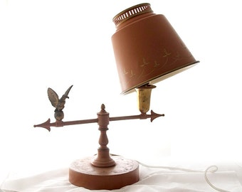 RARE 1930s painted tole lamp