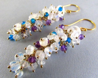 Moonstone, Amethyst and Turquoise Blue Quartz Long Cluster Gold Filled Earrings