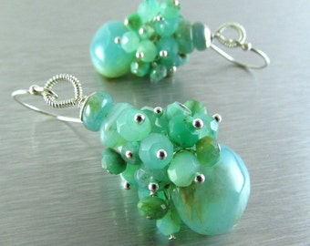 Peruvian Opal and Chrysoprase Sterling Silver Cluster Earring