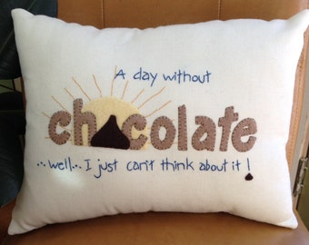 Chocolate lovers pillow, Pillow, Accent Pillow, Appliquéd Pillow