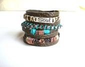 Bohemian Bracelet Boho Wrap Bracelet Deep Green Genuine Leather Bracelet Affirmation bracelet Earthy Boho Jewelry Gypsy Jewelry Gift For Her