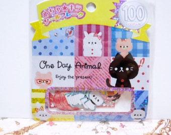Kamio Japan Sticker Flakes - One Day Animal - 61 Pieces (46047)
