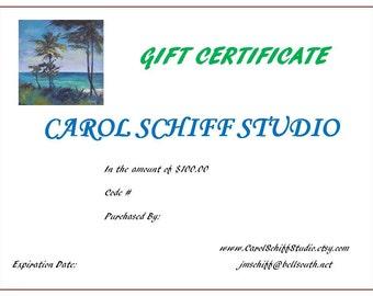 Art Gift Certificate One Hundred Dollars, Gift Certificate for Carol Schiff Studio