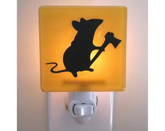 Mouse Night Light - Funny Gift - Fused Glass