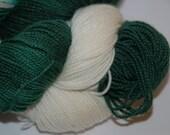 Studio June Yarn - Sydney Sock with Nylon - Color:  Go Team! Green/White