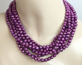 Plum Pearl Chunky Choker Necklace Multistrand Statement Bold Collar Faceted Damson Pearl Six Strand Statement Necklace