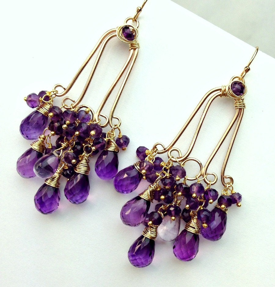 amethyst chandelier earrings 14kt gold fill wire wrap purple. Black Bedroom Furniture Sets. Home Design Ideas