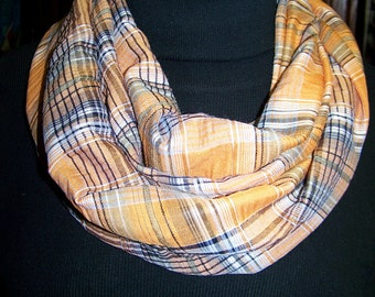 "SALE Ladies Infinity Scarf Orange and black plaid cotton fabric 60"" x 9"""