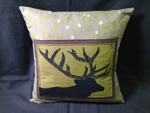 Grey and Green Elk Throw Pillow by monicahowie on Etsy