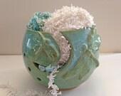 Dragonfly Yarn Bowl for Knitting - Yarn Holder -Knitting Storage - Pottery Yarn Bowl - Large Yarn Bowl