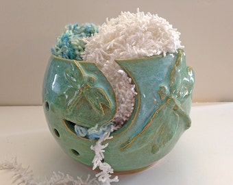 Dragonfly Yarn Bowl for Knitting - Yarn Holder -Knitting Storage - Pottery Yarn Bowl - Large Yarn Bowl