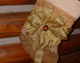 Handmade Victorian Golden Ribbon Poinsettia Brooch Quilted Large Christmas Stocking SALE