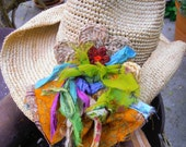 Crocheted Raffia Cowboy Hat with one of a kind Corsage