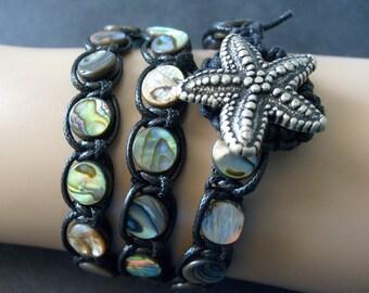 Paua Shell Triple Wrap Bracelet Abalone Wrap Bracelet Iridescent Shell Bracelet Starfish Bracelet Bohemian Boho Beach Bracelet Paua Jewelry