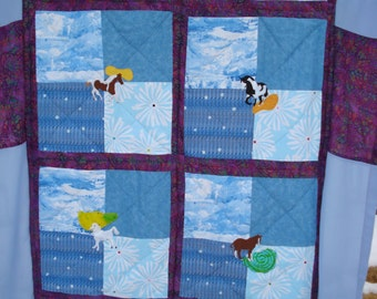 Twin Size Horse Lovers Quilt/Spread, Hand Appliqued, Hand-Quilted