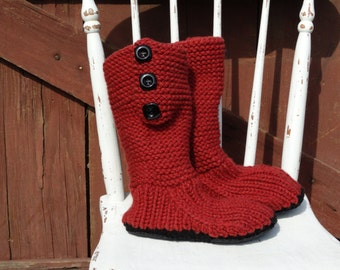 Mukluk style ugg inspired slipper boots hand knit brick color