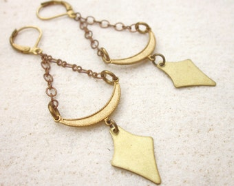 Brass chandelier earrings, geometric dangle earrings, vintage brass drop earrings, minimal brass jewelry, modern brass dagger earrings