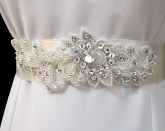 Rhinestone Crystal Applique, Beaded Bridal Sashes, Wedding Belts,  Rhinestone Applique Sash, Wedding Ivory Sash Belt, Bridal Appliques Sash