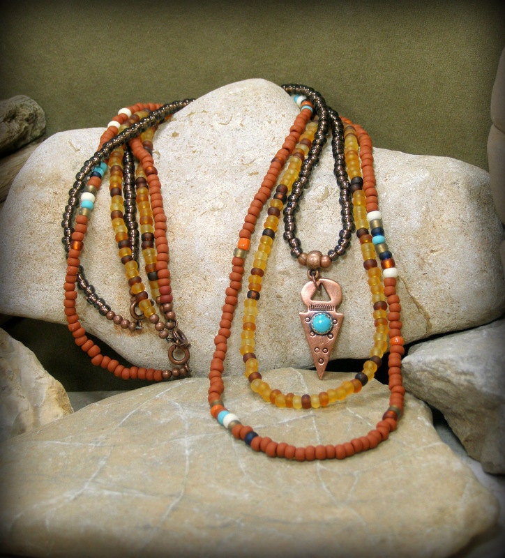 Mens Native American Beads: Tribal Necklace Native American Tribal Jewelry Southwest