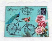 Notecards Flat Paris Bicycle Peacock Bonjour Bridal Shower French Large  Shabby Chic Set of 4 with Envelopes Handmade Australia
