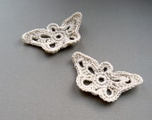 2 Crochet Appliques -- Natural Beige Butterfly