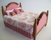 One inch Scale, Walnut bed, custom dressed in mauve and white color scheme, featuring a French Toile design.