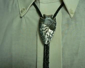 Hand Made Sterling Silver Sand Cast Spear / Arrow Head Bolo, Bola Tie