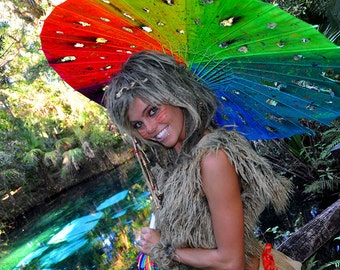 Imagine UV Distressed Rainbow Parasol