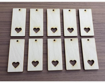 """100 Pieces- Rectangle Pendant with Heart Cut Out 2.25"""" x 1""""  Unfinished Wood Laser Cut Pendant Blanks"""