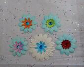 Aqua Bliss Paper Flowers...Set of 5