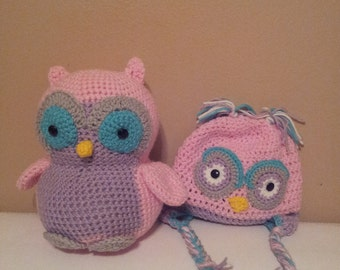 Crochet Owl with matching Owl Beanie