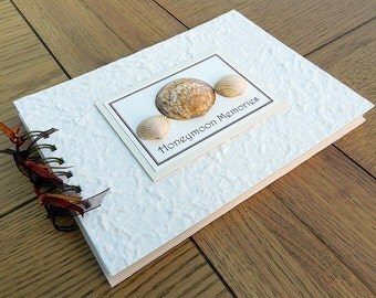 "Honeymoon Photo Album, 8""x6"" Holiday Memory Book, Shells Scrapbook, Personalised Gift"