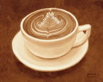 coffee art, Rosetta Latte, painted using only coffee, rosetta, espresso, latte