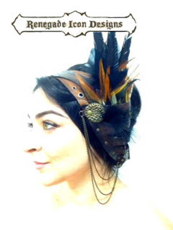 Leather head band,feather head piece, gypsy, boho, tribal: Rara Avis collection by Renegade Icon Designs