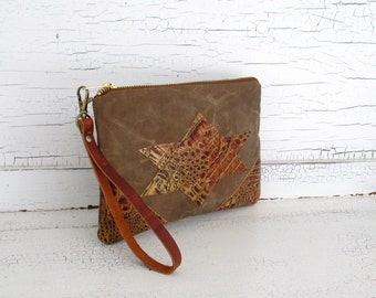 Brown Waxed Canvas  Clutch Purse/Wristlet/Organizer with Leather