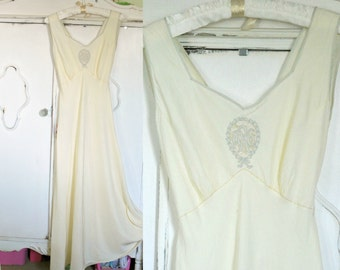1930's Long Bias Cut Gown or Slip - Tie Back - Initials AGR - small xs with monogram Victorian Flapper Style