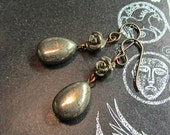 Golden Pyrite Earrings, handmade. Rhiannon's Rose.