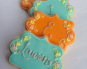 FLORAL MONOGRAM Cookies, 1 Dozen