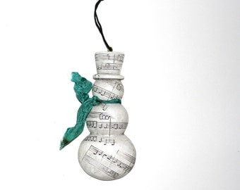 CLEARANCE - Snowman Ornament - Ceramic Music Stamped Embossed & Hand-dyed Vintage Ribbon - Pine Green Turquoise Dark Teal - Christmas Decor