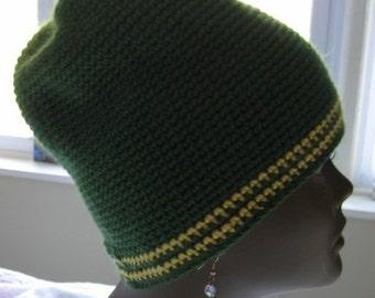 Crochet Tube Hat, Dark Sage and Sunshine Gold Tube