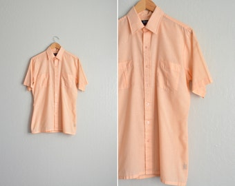 SALE / vintage men's '70s/'80s PEACH short sleeve SUMMER button-up shirt. size m.