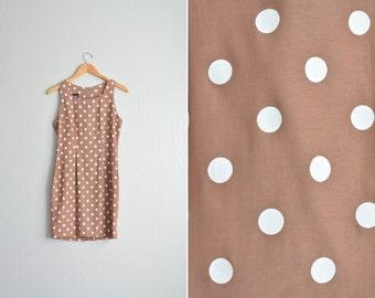 vintage '80s light COFFEE brown POLKA DOT sleeveless mini dress. size m.