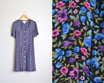 SALE // Size L // FLORAL SWEETHEART Dress // Short Sleeve Button-Front Dress - Corset Back - Vintage '90s Grunge.
