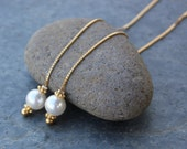 White pearl gold threader earrings - Swarovski pearls on long 22k gold plated sterling silver ear threads - free shipping USA