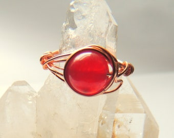 Cherry Quartz and Copper  Wire Wrap Ring, Gemstone Ring, Handcrafted Jewelry, Red and Copper, Copper Wire Wrap Jewelry, Rustic Jewelry