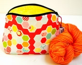 Zippered NOTIONS BAG with zipper pull -  Hexipuff Love