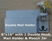 Mail Organizer - Key Holder - Mail Holder - Key Hook - Entryway Organizer - Jar Vase - Painted Wood