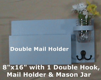 Mail Organizer - Key Holder - Mail Holder - Key Hook - Entryway Organizer - Jar Vase - Painted Wood