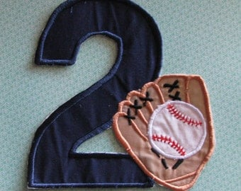 Applique number  two with baseball glove and ball