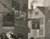 1860s Engraving on Times of the Day. Noon, by William Hogarth